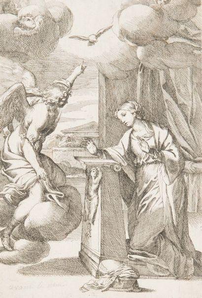 Carlo MARATTI (1625-1713). L'Annonciation. Eau-forte. Très belle épreuve, d'un premier...