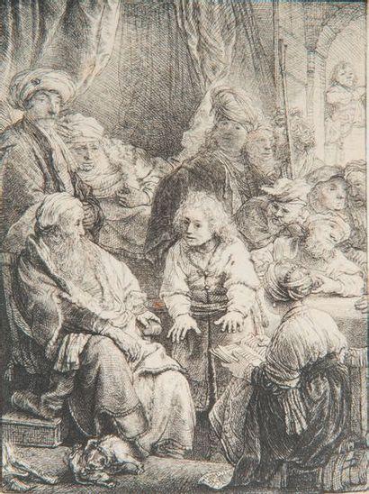REMBRANDT Van RIJN (1606-1669). Joseph contant ses songes. Eau-forte. Très belle...