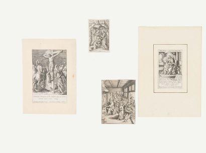 Jean (ou Jérôme) WIERIX La Crucifixion - Résurrection de Lazare - Jésus dans la maisonmaternelle...