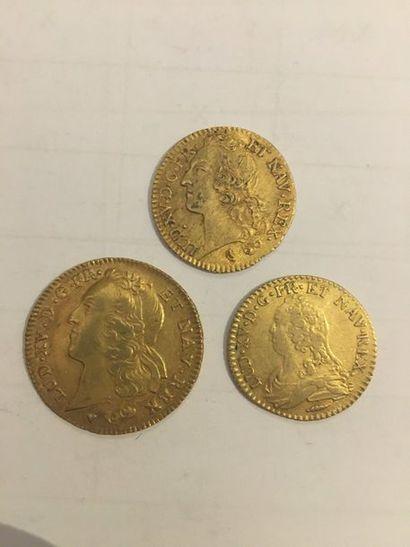 Lot de 3 pièces en or comprenant: Pièce Louis...