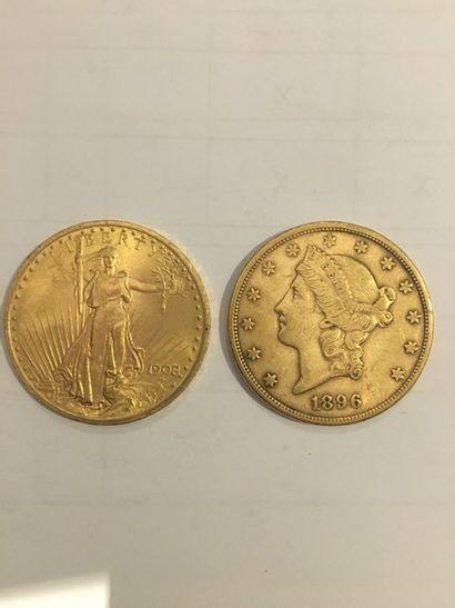 2 pièces de 20 Dollars or 1908 et 1896