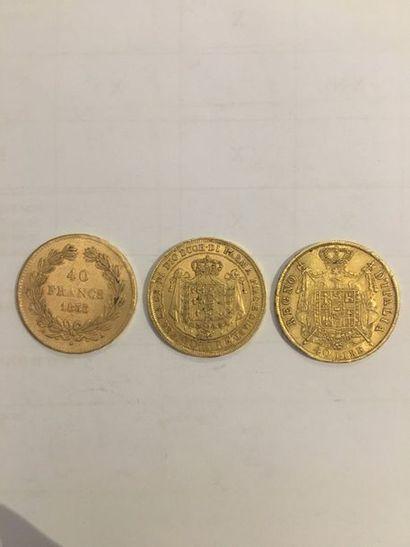 3 pièces en or comprenant: 1 pièce de 40...