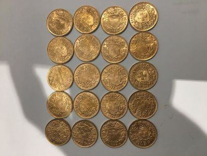 20 pièces de 20 Francs Suisse or