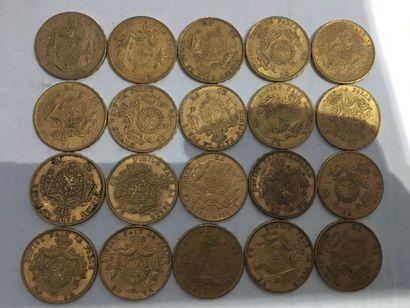 20 pièces de 20 Francs Belge or