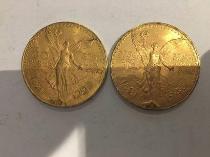 2 pièces de 50 Pesos or