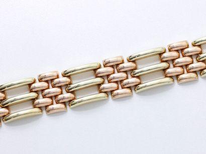 Bracelet 2 tons d'or 585 millièmes, composé...