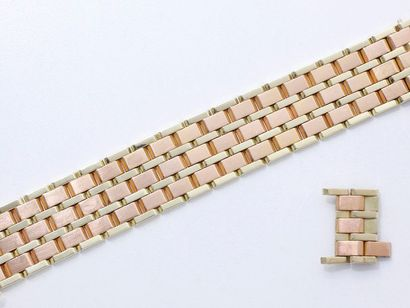 Bracelet ruban 2 tons d'or 585 millièmes,...