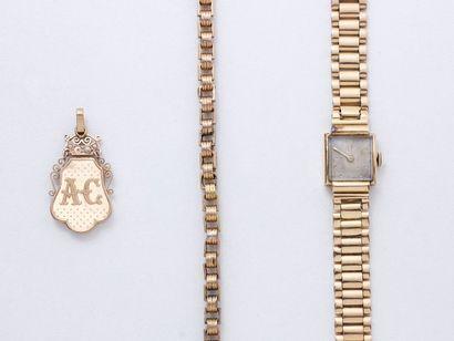 Lot en or 750 millièmes, composé d'une montre...