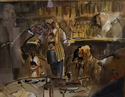 FAURE Le repas des chiens Aquarelle humoristique sur papier signée et datée 95 en...