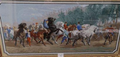 Le marché aux chevaux Papier peint à la gouache...