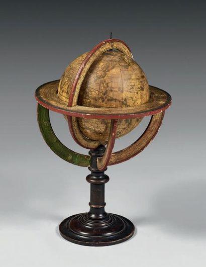 Globe terrestre signé «Dressé par Delamarche...