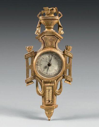 Baromètre-thermomètre en bois sculpté et...