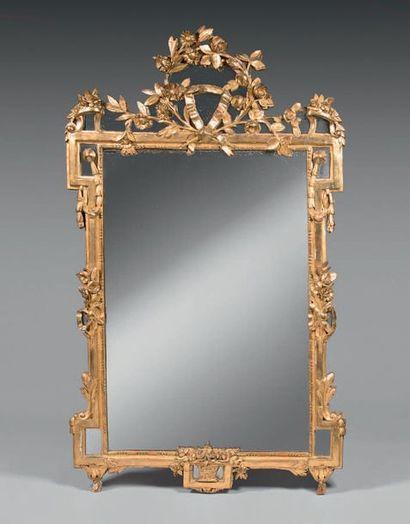 Grand miroir au mercure dans un cadre en...