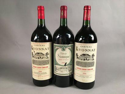 3 magnums BORDEAUX (2 Lyonnat 2004 & 2006, 1 Siaurac 2005)