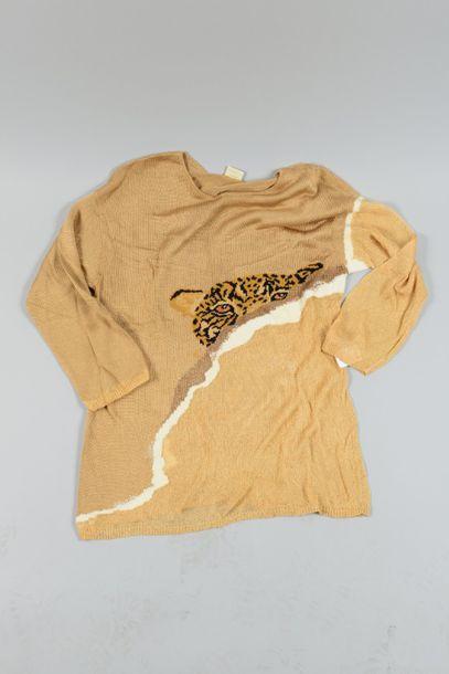 KRIZIA  Top en maille beige à motif panthère,...