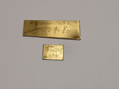 Deux plaques en or 750°/°°. Poids: 44 g.