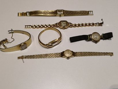 Lot de 6 montres en or 750°/°° comprenant:...