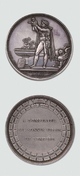 """Grande médaille en argent: """"Baptême du Roi..."""