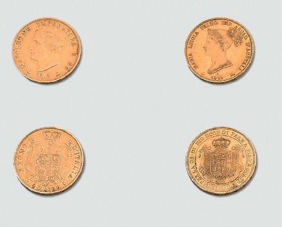 """Deux monnaies d'or: """"Napoléon Roi d'Italie"""",..."""