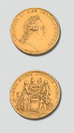 Médaille en or: Mariage du Dauphin Louis Auguste avec Marie-Antoinette d'Autriche,...
