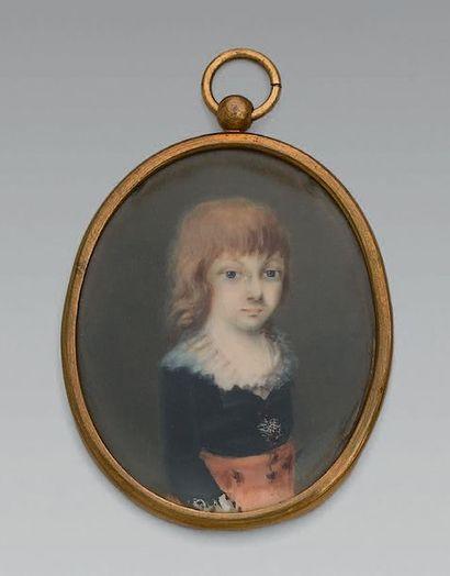 Miniature ovale sur ivoire: Portrait du Dauphin Louis Charles (Louis XVII), vers...