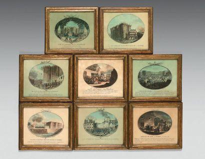Huit estampes à vue ovale, par Gayot graveur et marchand d'estampes rue Saint-Jacques...