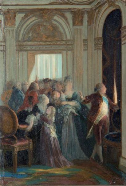 """Huile sur panneau signée: """"J. Van Colen"""" (?): Louis XVI et sa famille à Versailles..."""