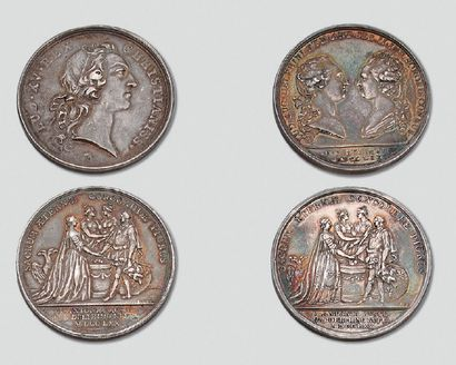 Deux médailles en argent: Mariage du Dauphin...