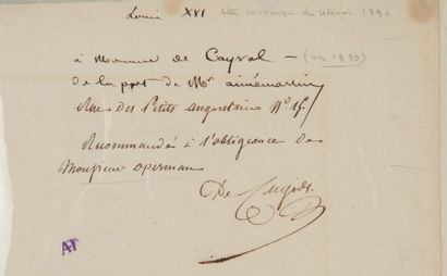"""LOUIS XVI (1754-1793) L.A.S. """"Louis"""", aux Tuileries jeudi 4 février 1790, à Jean-Xavier..."""