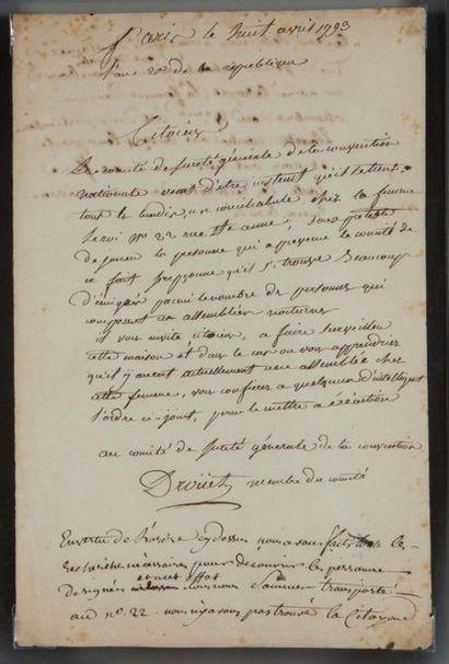 Jean-Baptiste DROÜET (1763-1824) maître de poste à Sainte-Menehould, il fit arrêter...