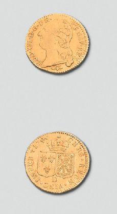 Monnaie d'or de 1790 au profil de Louis XVI; diamètre 25 mm, poids 8 g. Époque Louis...