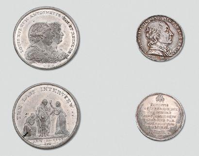 Une médaille en étain: Louis XVI et Marie-Antoinette...