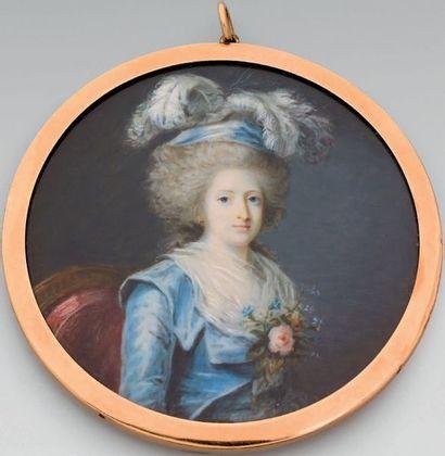Miniature ronde sur ivoire: Portrait de Madame...