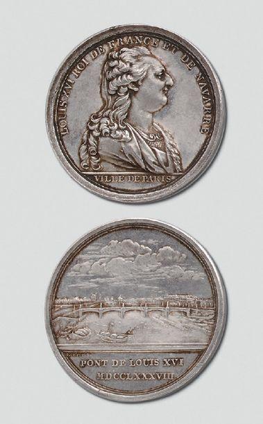 Rare médaille en argent: Inauguration du pont Louis XVI à Paris (pont de la Concorde),...