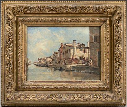Attribué à Jules Jacques VEYRASSAT (1828 - 1893) Vue de Venise Panneau. Monogrammé...