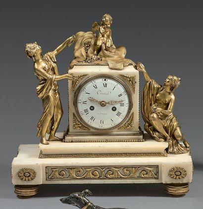 * Pendule en bronze ciselé ou doré et marbre...
