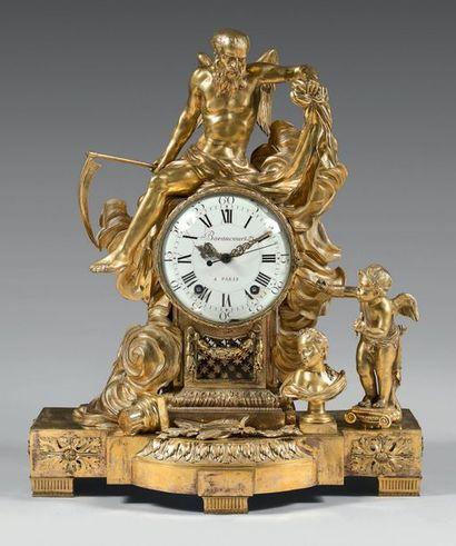 Pendule allégorique en bronze ciselé et doré...