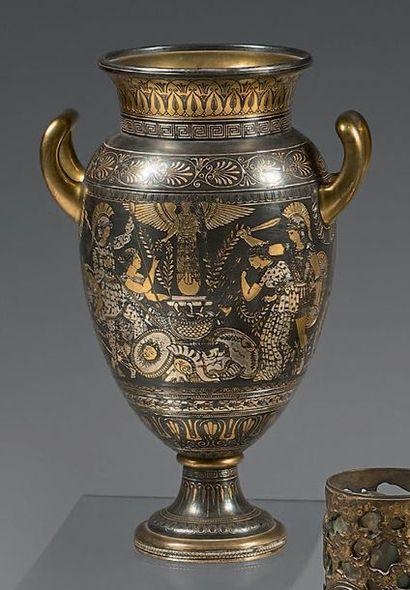 Vase «Zuolaga» en bronze doré, patiné, argenté...