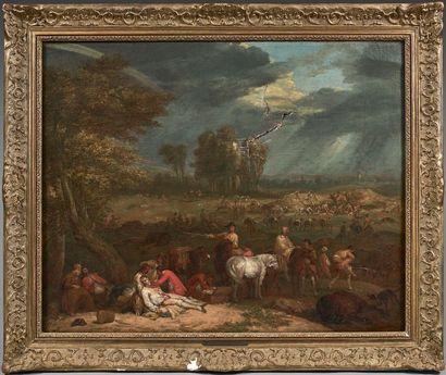 Jan Peeter VERDUSSEN (Anvers 1700 - Avignon 1763) Après la bataille Toile. Signé...