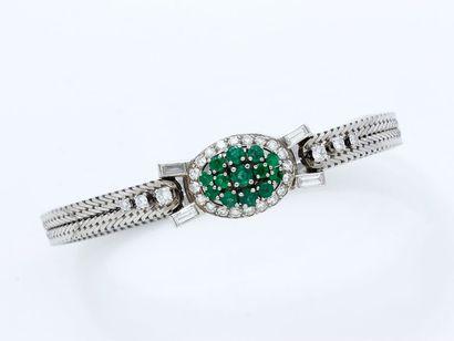 Bracelet souple en or gris 750 et platine...