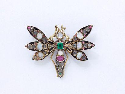 Broche papillon en or 750 millièmes, le corps...