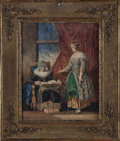 LESSORE Emile (1805-1876) La lecture de la...