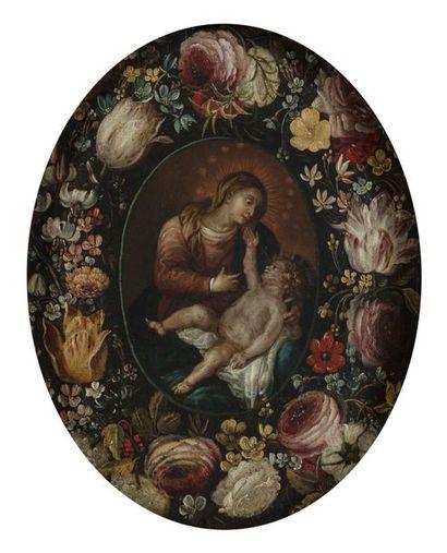 ÉCOLE FLAMANDE du XVIIe siècle Guirlande...