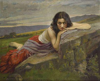 Paul REMY (1897-1981) Jeune fille pensive...