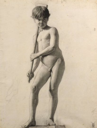 Charles LEANDRE (1862 - 1934) Enfant au jeu...