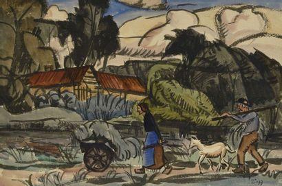Jules Emile ZINGG (1882-1942) Paysanne poussant la brouette Encre et aquarelle signée...