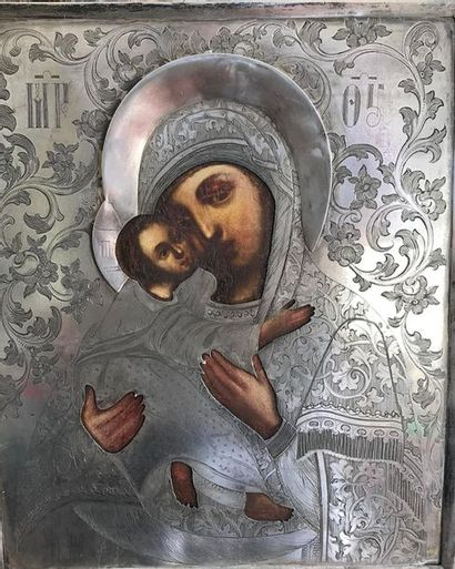 Icône, Vierge De Vladimir Tempera sur bois,...
