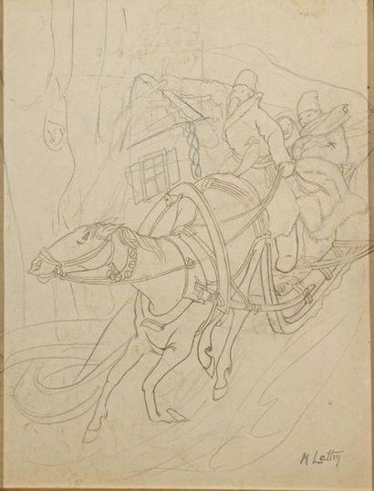 Michel LATTRY (1875-1941) Equipage Dessin...