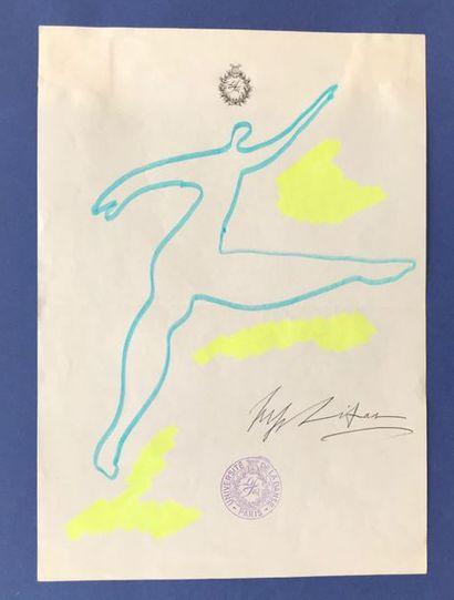 Serge LIFAR (1905-1986) Danseur Feutre sur...