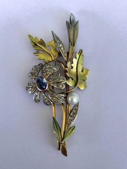 Broche «Bouquet» en 2 tons d'or rose et...